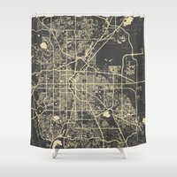 denver Shower Curtains featuring Denver map by Map Map Maps