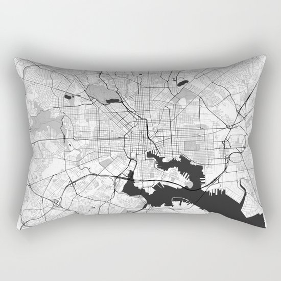 Baltimore Map Gray Rectangular Pillow