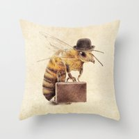 bee Throw Pillows featuring Worker Bee by Eric Fan