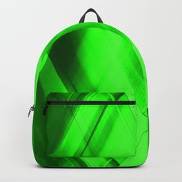 Hot triangular strokes of intersecting sharp lines with emerald triangles and stripes. Backpack