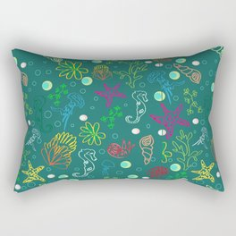 Hand drawn seamless sea life pattern. Rectangular Pillow