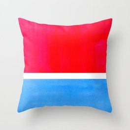 Colorful Bright Minimalist Rothko Midcentury Modern Art Vintage Pop Art Neon Red Cerulean Blue Throw Pillow