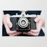 vintage camera Area & Throw Rugs featuring Vintage Camera by Kurt Rahn