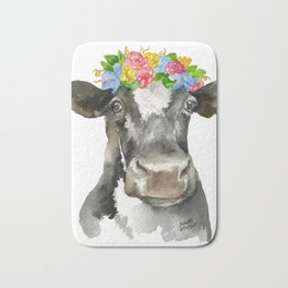 Black and White Cow with Floral Crown Watercolor Painting Bath Mat