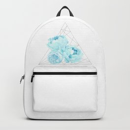 Blue Peonies (White) Backpack