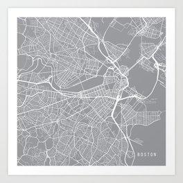 Boston Map, Massachusetts USA - Pewter Art Print