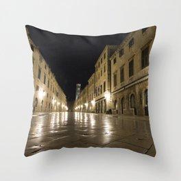 Dubrovnik at Night Throw Pillow