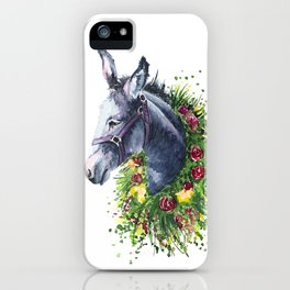 Donkey watercolor iPhone Case