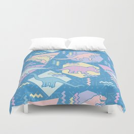 Nineties Dinosaurs Pattern  - Pastel version Duvet Cover