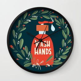 Hand wash liquid soap with floral wreath Wall Clock