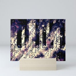 piano keys and music sheet pattern wsfn Mini Art Print