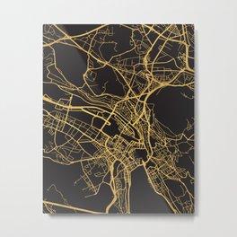 ZURICH SWITZERLAND GOLD ON BLACK CITY MAP Metal Print
