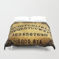 ouija Duvet Covers featuring Ouija Board by Lostfog Co.