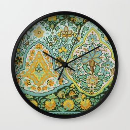 Textile Border Painting circa 1850 recolored Wall Clock