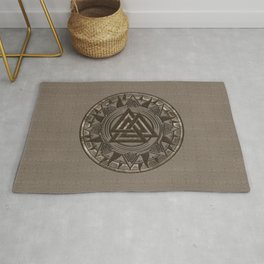 Valknut Symbol - Beige Leather and gold Rug