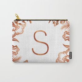 Letter S - Faux Rose Gold Glitter Flowers Carry-All Pouch