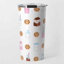 Milk and Cookies Pattern on White Travel Mug