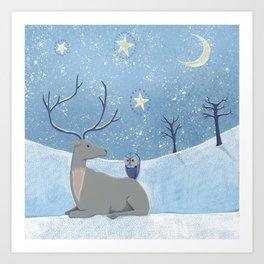 Winter Reindeer and Owl Art Print