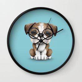 Cute English Bulldog Puppy Wearing Glasses on Blue Wall Clock