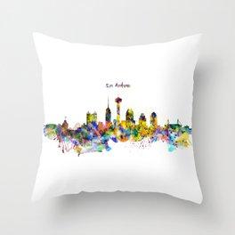 San Antonio Skyline Silhouette Throw Pillow
