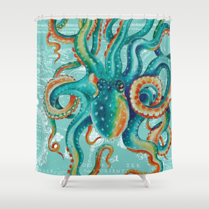 Teal Octopus On Light Vintage Map Shower Curtain