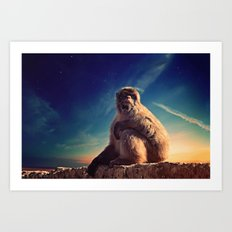 Daydreaming Macaque Art Print