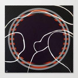 Lined - orange circle Canvas Print
