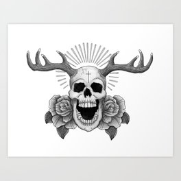 Skull with Antlers Art Print