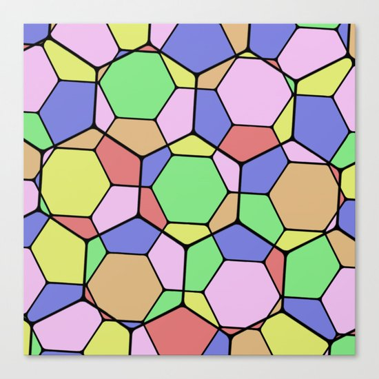 Stained Glass Tortoise Shell - Geometric, pastel, hexagon patterned artwork Canvas Print