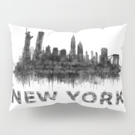 NY New York City Skyline NYC Black-White Watercolor art Pillow Sham