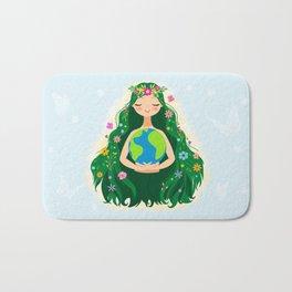 Beautiful Flowing Flower Earth Mother Figure Bath Mat