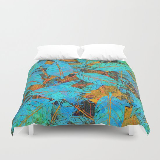 Blue & Orange Leaves Duvet Cover