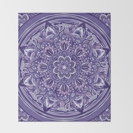 Great Purple Mandala Throw Blanket