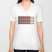 building V-neck T-shirts featuring Building to Building: Church by theartistmakena