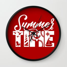 Summer TIME Nautical Solid Red, Seagull, Lounge Chair, Lighthouse, Anchor, Rope, Compass, Sail Boat Wall Clock