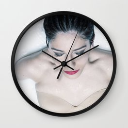 Milk and red roses Wall Clock