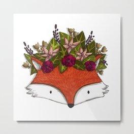 Floral Fox Metal Print