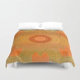"""""""Savanna Orange-Gold Mandala"""" Duvet Cover"""
