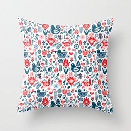 Scandinavian Red Blue Throw Pillow