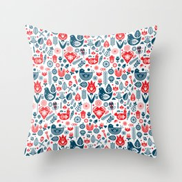 Scandinavian Red Blue Throw Pillow