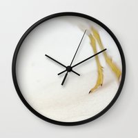 skiing Wall Clocks featuring Gull Skiing by Karol Livote