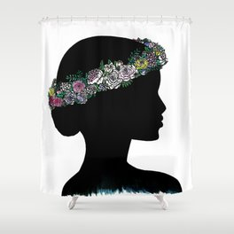 Flower Crown Silhouette Shower Curtain