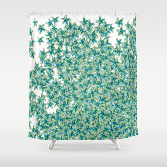 Blue And Yellow Forget Me Knots Shower Curtain By