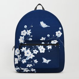 Navy Blue White Cherry Blossoms Backpack