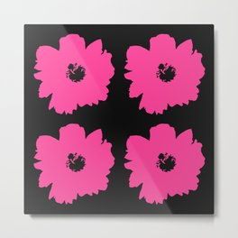 Pink Peony Bouquet (Black) Metal Print