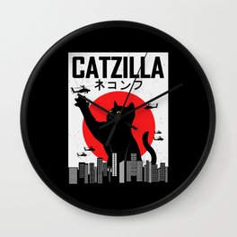 CATZILLA Cat Kitty Japan Vintage Gift Wall Clock