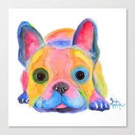 Nosey Dog French Bulldog ' AM I FRENCH ? ' by Shirley MacArthur Canvas Print