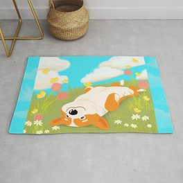 A Happy Corgi In The Sun Rug
