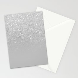 Trendy modern silver ombre grey color block Stationery Cards