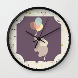 Elephant with Balloons & birds , nursery decor , Wall Clock